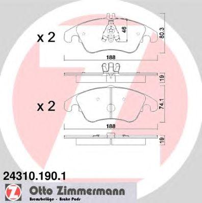 Купить запчасть ZIMMERMANN - 243101901 Колодки тормозные дисковые передние Mercedes-Benz